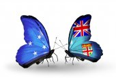 Butterflies with Micronesia and Fiji flags — Foto Stock