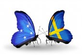 Butterflies with Micronesia and Sweden flags — Foto Stock