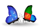 Butterflies withs Micronesia and Eritrea flags — Stock Photo