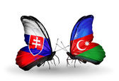 Butterflies with Slovakia and Azerbaijan flags — Foto Stock
