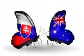 Butterflies with Slovakia and Australia flags — Stock fotografie