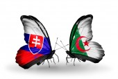 Butterflies with Slovakia and Algeria flags — Foto Stock