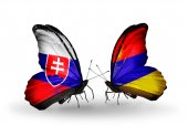 Butterflies with Slovakia and Armenia flags — Stock fotografie