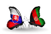 Butterflies with Slovakia and Afghanistan flags — Stock fotografie