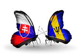 Butterflies with Slovakia and Barbados flags — Stock Photo