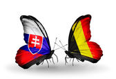 Butterflies with Slovakia and Belgium flags — Foto Stock