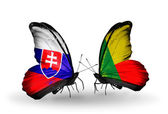 Butterflies with Slovakia and Benin flags — Stock Photo