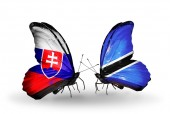 Butterflies with Slovakia and Botswana flags — Stock fotografie