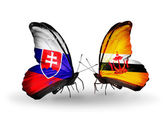 Butterflies with Slovakia and Brunei flags — Foto Stock