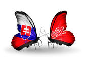 Butterflies with Slovakia and Waziristan flags — Stock fotografie