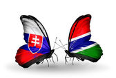 Butterflies with Slovakia and Gambia flags — Stock fotografie