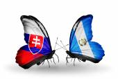 Butterflies with Slovakia and Guatemala flags — Stockfoto