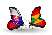 Butterflies with Slovakia and Grenada flags — Stock fotografie