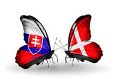 Butterflies with Slovakia and Denmark flags — Foto Stock