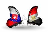 Butterflies with Slovakia and Egypt flags — Foto Stock