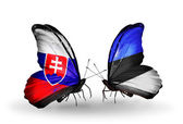 Butterflies with Slovakia and Estonia flags — Stock fotografie