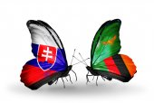 Butterflies with Slovakia and Zambia flags — Foto Stock