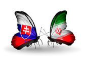 Butterflies with Slovakia and Iran flags — Foto Stock