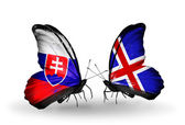 Butterflies with Slovakia and Iceland flags — Stock Photo