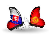 Butterflies with Slovakia and Kirghiz flags — Foto Stock