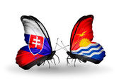 Butterflies with Slovakia and Kiribati flags — Stock fotografie