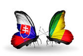 Butterflies with Slovakia and Kongo flags — Foto Stock