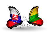 Butterflies with Slovakia and Lithuania flags — Foto Stock