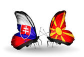 Butterflies with Slovakia and Macedonia flags — Stock fotografie