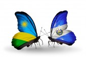 Butterflies with Rwanda and Salvador flags — Стоковое фото