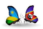 Butterflies with Rwanda and Swaziland flags — Stock Photo