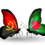 Постер, плакат: Butterflies with Angola and Bangladesh flags