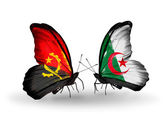 Butterflies with Angola and Algeria flags — Stock Photo