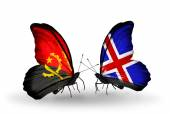 Butterflies with Angola and  Iceland flags — Stock Photo