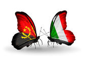 Butterflies with Angola and  Italy flags — Stock Photo