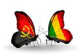Butterflies with Angola and Mali flags — Stock Photo