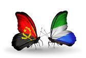 Бабочки с флагами Анголы и Сьерра-Леоне — Стоковое фото