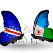 Butterflies with Cape Verde and Djibouti flags — Stock Photo #59557107