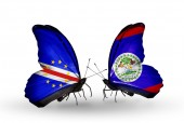 Butterflies with Cape Verde and Belize flags — Stock Photo
