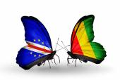 Butterflies with Cape Verde and Guinea flags — Стоковое фото