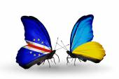 Butterflies with Cape Verde and Ukraine flags — Stockfoto