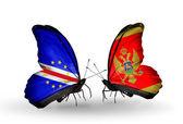 Motyle z Zielonego Przylądka i Czarnogóra flagi — Zdjęcie stockowe