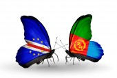 Butterflies with Cape Verde and Eritrea flags — Stock Photo