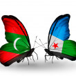 Butterflies with Maldives and Djibouti flags — Stock Photo #59909075
