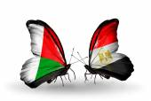 Butterflies with Madagascar and Egypt flags — Stock Photo