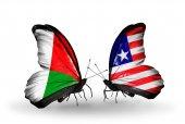 Motýli s příznaky Madagaskar a Libérie — Stock fotografie
