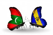 Butterflies with Maldives and Barbados flags — Stock Photo