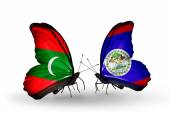 Butterflies with Maldives and  Belize flags — Stock Photo