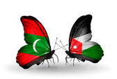 Butterflies with Maldives and  Jordan flags — Stock Photo