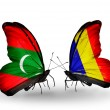 Butterflies with Maldives and Chad, Romania flags — Stock Photo #59911439