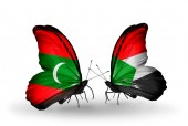 Butterflies with  Maldives and Sudan flags — Stock Photo